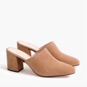 J. Crew High Block-Heel Mules In Suede NIB